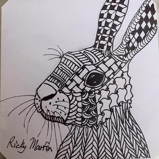 Art: Zentangle Inspired Bunny by Artist Ulrike 'Ricky' Martin