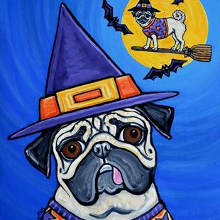 Art: Witchy Pugs by Artist Melinda Dalke