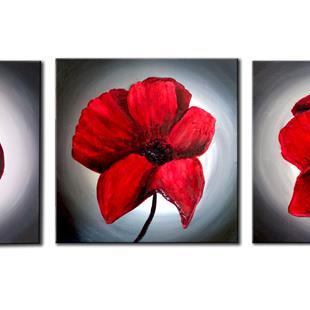 Art: CRIMSON ABSTRACT FLOWERS by Artist Kate Challinor