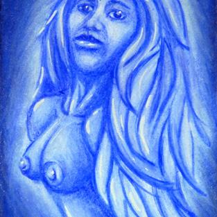 Art: Blue Ghost Woman  (SOLD) by Artist Monique Morin Matson