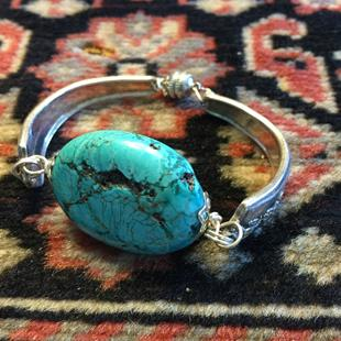 Art: silver spoon with turquoise by Artist Anne Vanderlaan Phd.,M.F.A.