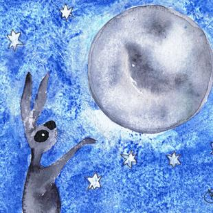 Art: MOONGAZING HARE h3098 by Artist Dawn Barker