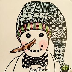 Art: Snowman Zentangle Inspired by Artist Ulrike 'Ricky' Martin