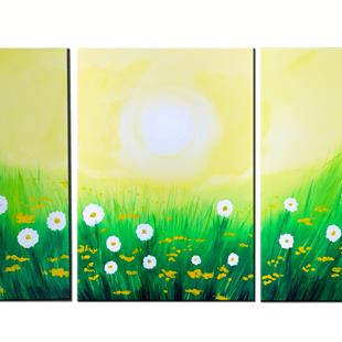 Art: BUTTERCUPS AND DAISIES by Artist Kate Challinor
