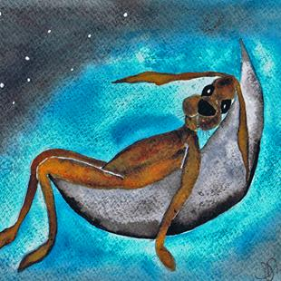 Art: HARE IN MOON h1985 by Artist Dawn Barker