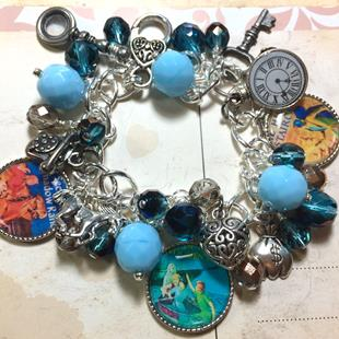Art: Nancy Drew Altered art charm bracelet by Artist Lisa  Wiktorek