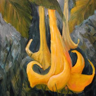 Art: Angel's Yellow Trumpet Floral by Artist Barbara Haviland