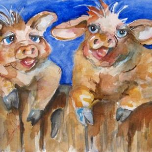 Art: Happy Pigs by Artist Delilah Smith