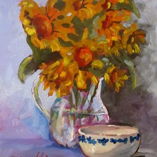 Art: Still Life With Sunflowers by Artist Delilah Smith