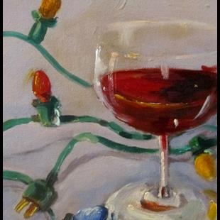 Art: Christmas Red Wine by Artist Delilah Smith
