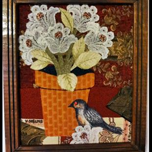 Art: Bird & Pot by Artist Vicky Helms