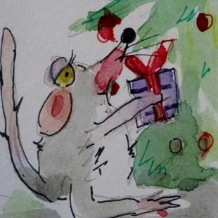 Art: Christmas Gift Mouse by Artist Delilah Smith