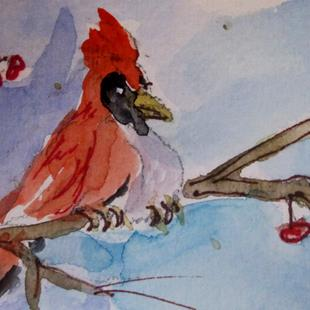 Art: Cardinal on a Branch by Artist Delilah Smith