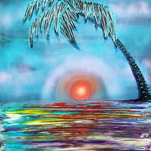 Art: Tropical Sunset by Artist Laura Barbosa