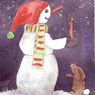 Art: Snowman and Bunny by Artist Ulrike 'Ricky' Martin
