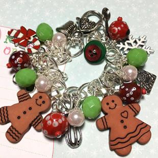 Art: Gingerbread Cookie Charm Bracelet, altered art, mixed media, OOAK by Artist Lisa  Wiktorek