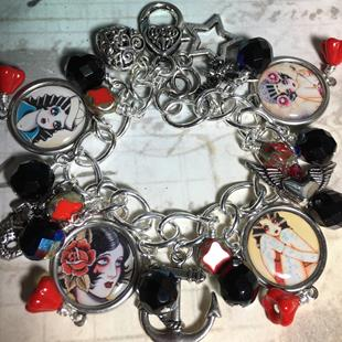 Art: Tattoo Altered art charm bracelet, handmade , soak by Artist Lisa  Wiktorek