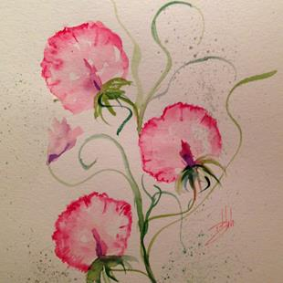 Art: Sweet Peas by Artist Delilah Smith