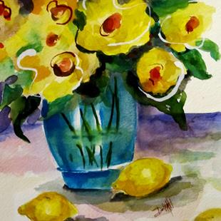 Art: Yellow Flowers and Lemons by Artist Delilah Smith