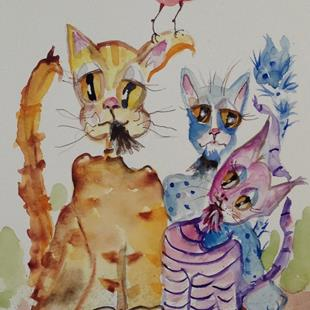 Art: Jazz Cats and Red Bird by Artist Delilah Smith