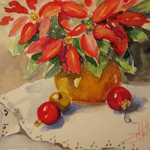 Art: Poinsettia and Ornaments-sold by Artist Delilah Smith