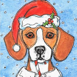 Art: Santa Beagle Dog by Artist Melinda Dalke