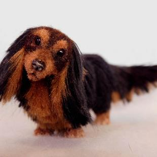 Art: Silk Furred Long Haired Dachshund by Artist Camille Meeker Turner