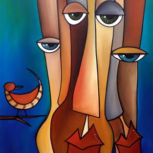 Art: Abstract Art Original Painting Birds of a feather by Artist Thomas C. Fedro