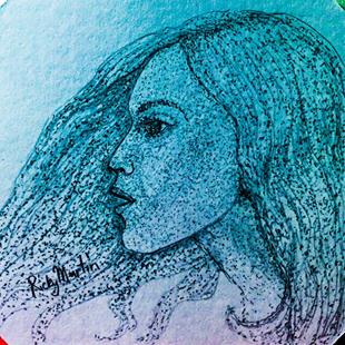 Art: Pointillism Female Profile by Artist Ulrike 'Ricky' Martin