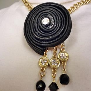 Art: Leather Twirl Necklace by Artist Vicky Helms