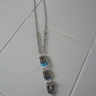 Art: Long Silver Square Necklace by Artist Vicky Helms