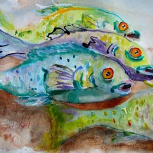 Art: Four Fish by Artist Delilah Smith
