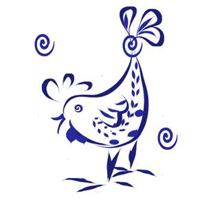 Art: Toile Chicken in Royal Blue by Artist Alma Lee