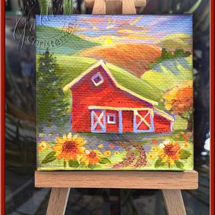 Art: Americana Country Barn - Petite Peinture by Artist Patricia  Lee Christensen