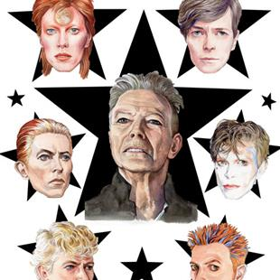 Art: Bowie Tribute: From Ziggy To Blackstar by Artist Mark Satchwill
