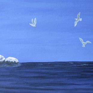 Art: Winter Seascape by Artist Jackie K. Hixon