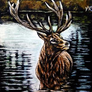 Art: Elk Lake - SA101  (SOLD) by Artist Monique Morin Matson
