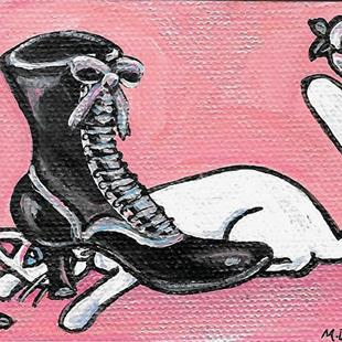 Art: White Roses & Black Shoe by Artist Melinda Dalke