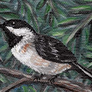 Art: Chickadee in Greens by Artist Melinda Dalke
