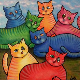 Art: One Cat Two Cat Too by Artist Lindi Levison