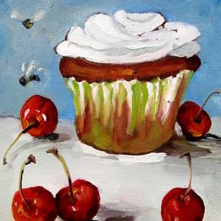 Art: Cupcake with Cherries and Dragonfly by Artist Delilah Smith