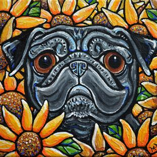 Art: Sunflower Pug 2016 by Artist Melinda Dalke