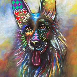 Art: Boho German Shepherd by Artist Patricia Lintner