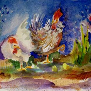 Art: Rooster,Hen,and Chick by Artist Delilah Smith
