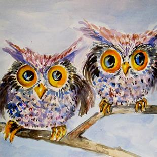 Art: Big Eyed Owls by Artist Delilah Smith