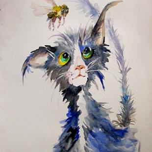 Art: Barn Cat and Bee by Artist Delilah Smith