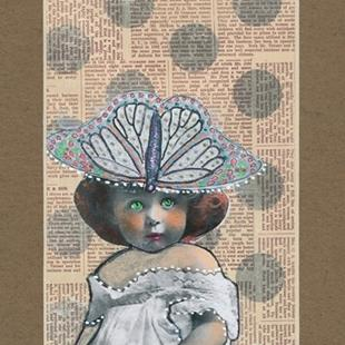 Art: Green Eyes and Butterfly Hat by Artist Sherry Key