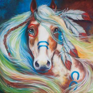 Art: FEARLESS Indian War Horse COMMISSION by Artist Marcia Baldwin
