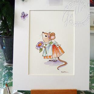 Art: Missy Mouse & Butterfly by Artist Patricia  Lee Christensen