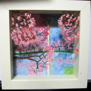 Art: DC Cherry Blossoms 3D Painted Glass in Box by Artist Paul Lake, Lucky Studios